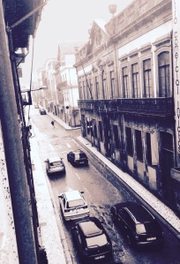 The view of rainy Rua Formosa from my hotel in Porto