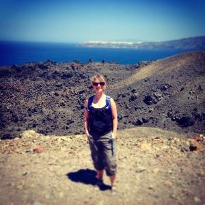 Nea Kameni Island in Santorini Greece