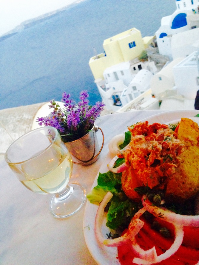 Solo dinner in Santorini, Greece