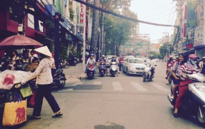 Traffic and wires on the streets of Ho Chi Minh City (Saigon)