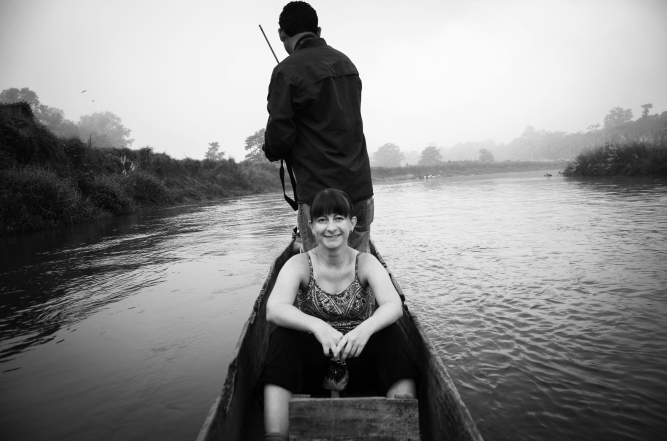 On the River Chitwan B&W